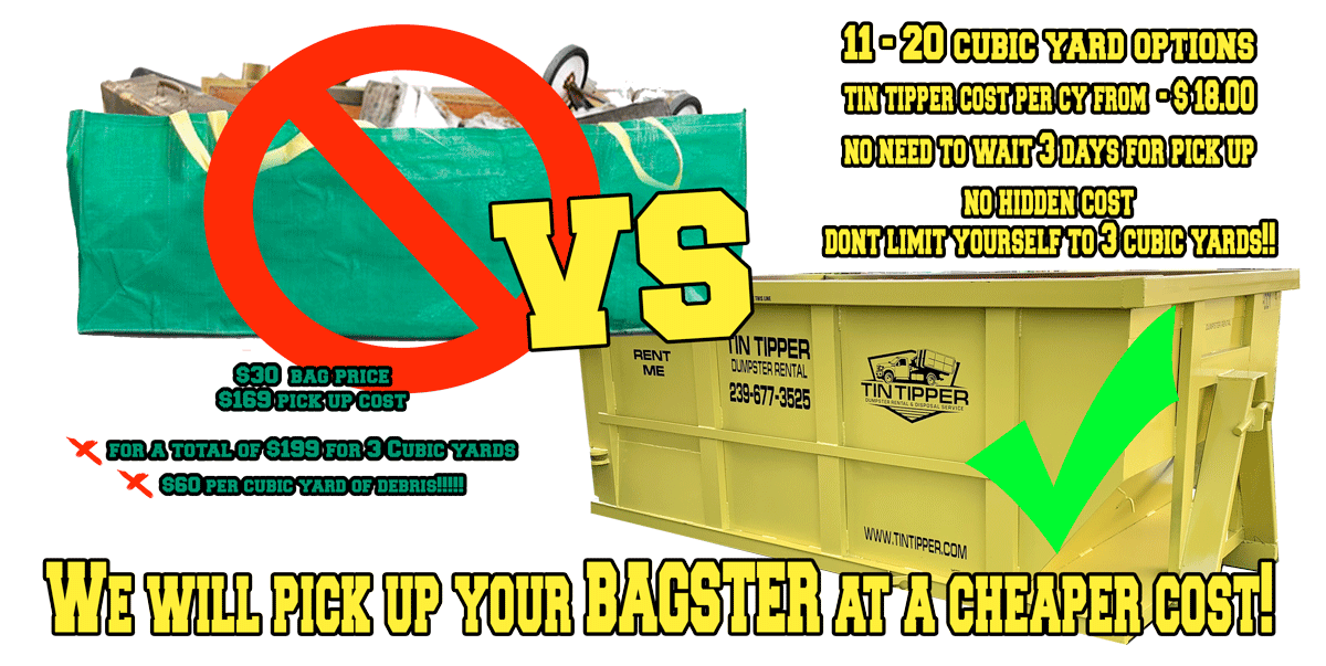 bagster vs dumpster debris removal pick up